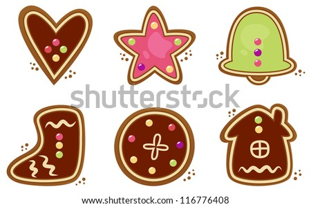 Christmas cookies set isolated on white - stock vector