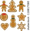 Christmas cookies set. Pastry shaped man, woman, tree, bauble, star, snowflake, snowman and heart - stock vector