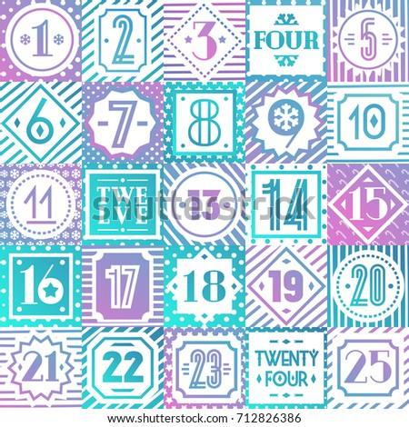 Christmas Countdown Printable Tags Collection Color Stock Vector HD ...