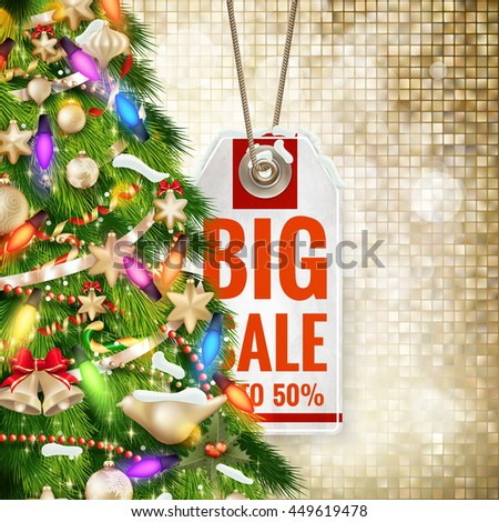 Christmas cover with price sticker on gold background. EPS 10 vector file included - stock vector