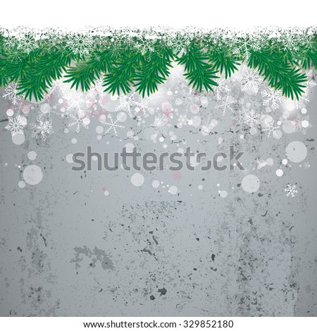 Christmas cover with white snowflakes and fir twigs on the concrete background. Eps 10 vector file. - stock vector