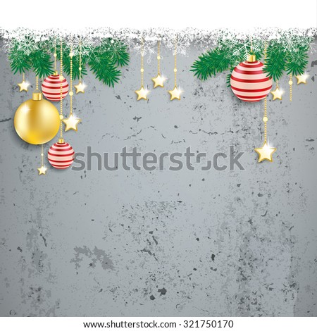 Christmas cover with white snowflakes on the concrete background. Eps 10 vector file. - stock vector