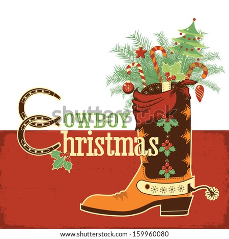 Christmas cowboy boot.Vector western illustration with text - stock vector