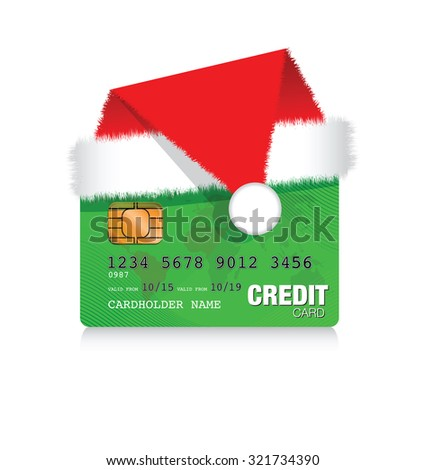 christmas credit card - stock vector