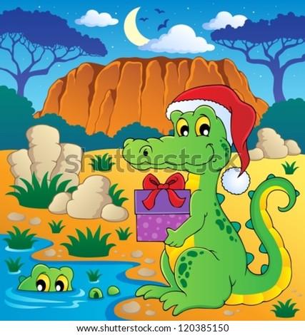 Christmas crocodile theme image 2 - vector illustration. - stock vector