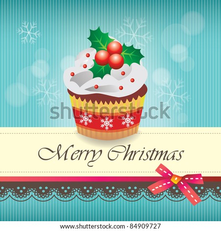 Christmas cupcake card 02 - stock vector