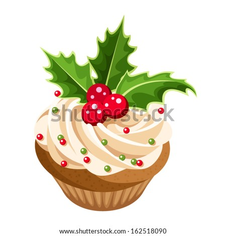 Christmas cupcake. Vector illustration. - stock vector