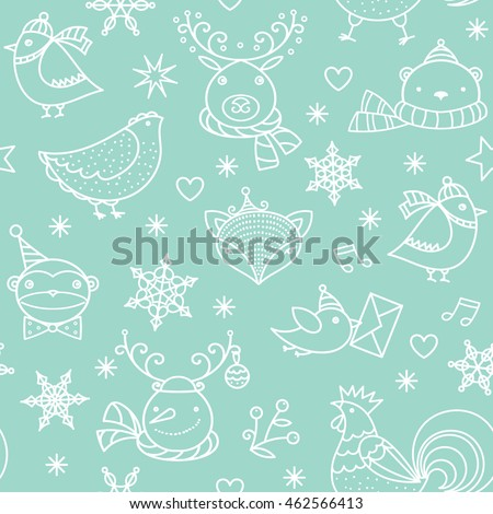 Christmas cute animals, birds, snowman, snowflakes, stars background. Vector green linear seamless pattern.