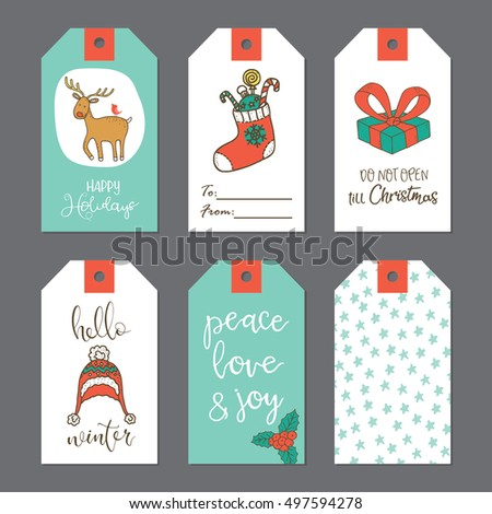 Christmas cute gift tags set. Vector illustration.
