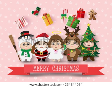 Christmas cute kids.vector illustration. - stock vector