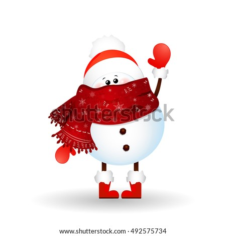 Christmas cute, little Snowman waving hand isolated on white background. vector cartoon illustration.
