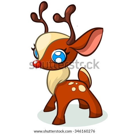 Christmas Cute Reindeer Vector Illustration On White Background