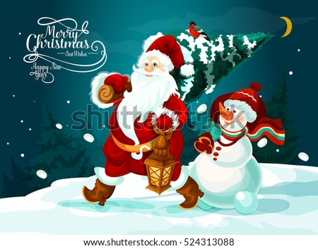 Christmas Day holidays greeting card. Santa Claus and snowman with christmas tree, gift bag and lantern walking across snowy forest. Xmas and New Year festive design.