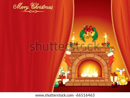 Christmas Day - Illustrated greeting Card with festive interior, fireplace and classical xmas ornaments and gifts -vector ready for your text - stock vector