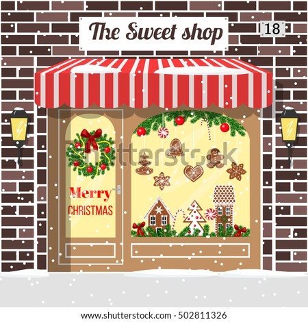 Christmas Decorated Illuminated Sweet Shop Candy Stock