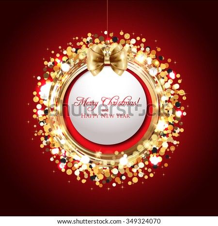 Christmas decoration against golden shiny background   - stock vector