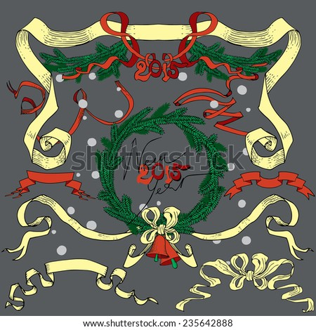"Christmas decoration collection. Drawings by hand in classic retro style - bells, fir-tree branches, fir-tree wreath, garland and vintages ribbon,  text ""Happy New Year"", vector background composition - stock vector"