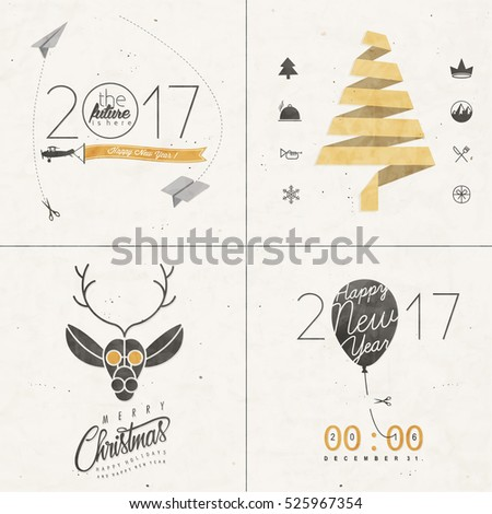 Christmas decoration collection for postcards and other Christmas design. Vintage style Christmas typographic and calligraphic symbols for greeting cards design. Christmas and New Year backgrounds.