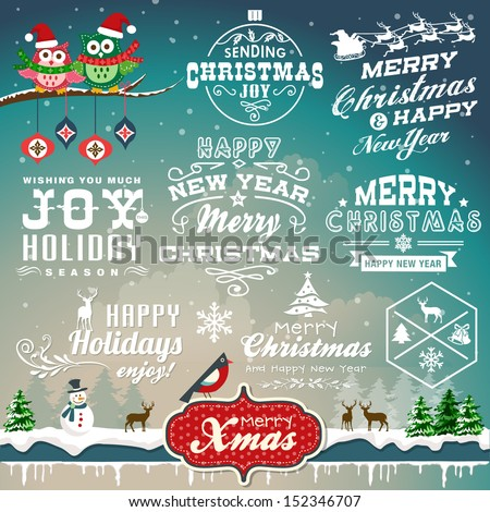 Christmas decoration collection of calligraphic and typographic design with labels, symbols and icons elements