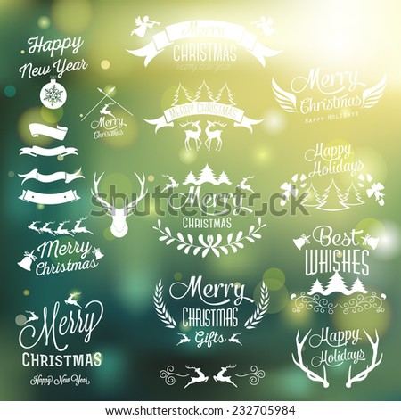 Christmas decoration collection | Set of calligraphic and typographic elements. - stock vector