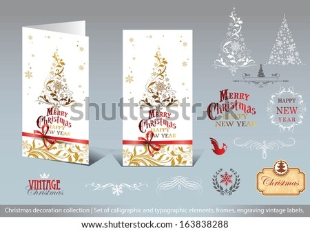 Christmas decoration collection - Set of calligraphic and typographic elements, frames, engraving vintage labels and Greeting cards. - stock vector