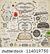 Christmas decoration collection | Set of calligraphic and typographic elements, frames, vintage labels. Ribbons, stickers, garland, hand drawn gifts, Santa and fur-tree branches with balls. Vector. - stock vector