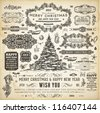 Christmas decoration collection | Set of calligraphic and typographic elements, frames, vintage labels, ribbons, borders, holly berries, fir-tree branches and balls. All for holiday invitation design. - stock photo