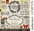 Christmas decoration collection | Set of calligraphic and typographic elements, frames, vintage labels. Ribbons, stickers, ribbon bows set and fur-tree branches - all for Xmas and New Year design. - stock photo