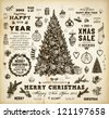 Christmas decoration collection | Set of calligraphic and typographic elements, frames, vintage labels, ribbons, mistletoe, holly berries, fir-tree branches, balls, Christmas socks and snowman. - stock photo