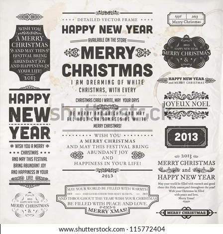 Christmas decoration collection | Set of calligraphic and typographic elements, frames, vintage labels and borders. Floral ornaments and old paper texture. All for holiday invitation design. - stock vector