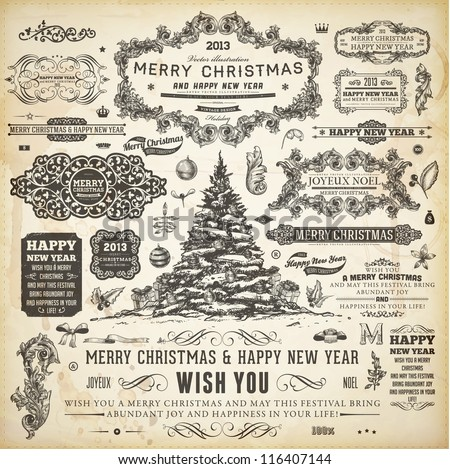 Christmas decoration collection | Set of calligraphic and typographic elements, frames, vintage labels, ribbons, borders, holly berries, fir-tree branches and balls. All for holiday invitation design. - stock vector