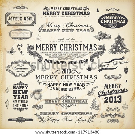 Christmas decoration collection Set of calligraphic and typographic elements, frames, vintage labels. Ribbons, christmas tree with balls, Mistletoe, Holly, Candy Cane and fir cone. All for Xmas design - stock vector
