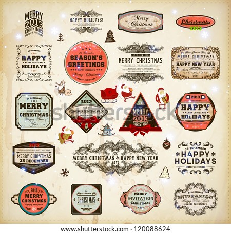 Christmas decoration collection | Set of calligraphic and typographic elements, frames, vintage labels and borders. Floral ornaments and old paper texture, Santa with gifts and baubles for Xmas design - stock vector