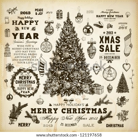 Christmas decoration collection | Set of calligraphic and typographic elements, frames, vintage labels, ribbons, mistletoe, holly berries, fir-tree branches, balls, Christmas socks and snowman. - stock vector