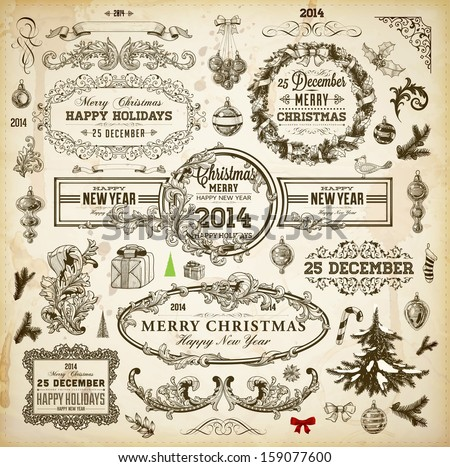 Christmas decoration collection | Set of calligraphic and typographic elements, frames, vintage labels. Ribbons, borders, wreath and Christmas tree, bird and engraving Xmas baubles. Holiday Vector. - stock vector