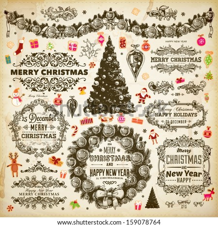 Christmas decoration collection | Set of calligraphic and typographic elements, frames, vintage labels. Ribbons, stickers, borders, deer, Santa and snowman, Xmas tree with baubles, holiday wreath. - stock vector
