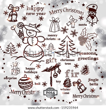 Christmas decoration collection | Set of calligraphic and typographic elements, frames, vintage labels. Ribbons, stickers, Santa and snowman, birds and baubles. Chalkboard design. - stock vector