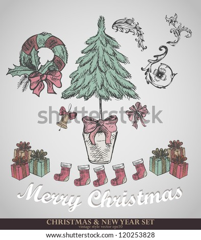 Christmas decoration collection. Set of calligraphic and typographic elements, vintage. Ribbons, stickers, fur-tree branches with balls - all for design. - stock vector