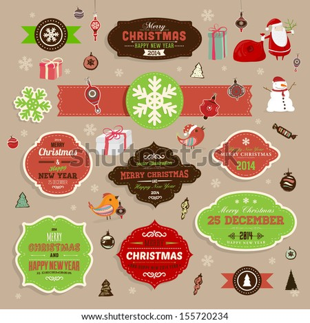 Christmas decoration collection | Set of frames and vintage labels. Ribbons, stickers, Santa and snowman, birds on a fur-tree branches with balls - all for design. - stock vector