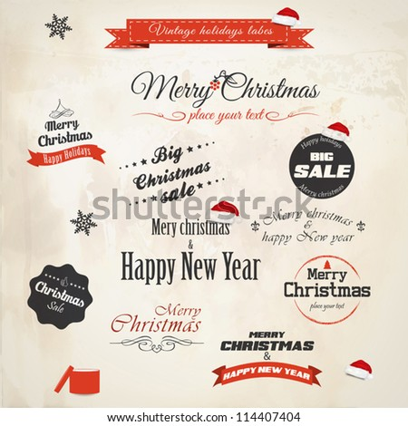 Christmas decoration collection. Vector - stock vector