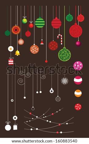 Christmas decoration collection, vector - stock vector