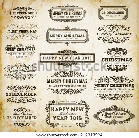 Christmas Decoration Design Elements Set. Typographic Elements, Vintage Labels, Frames and Ribbons. Calligraphic Xmas Holiday Collection.