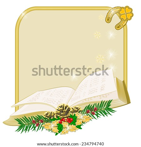 Christmas decoration  frame with book  and pine cones and yew vector illustration  - stock vector