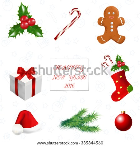 Christmas decoration-  greeting card with christmas symbols and copy space.Vector illustration
