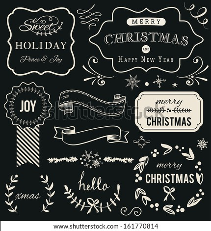 Christmas decoration Hand Drawn Vector collection. Set of calligraphic and typographic elements, frames, vintage labels, ribbon. - stock vector