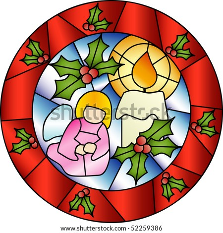 Christmas decoration in Tiffany style with a praying angel and a candle - stock vector