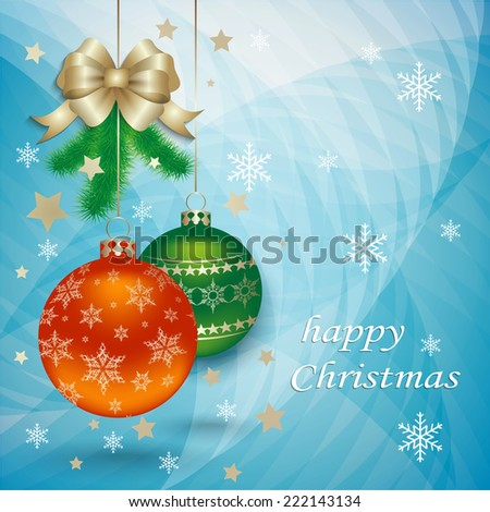 Christmas decoration on abstract background with gold bow and Christmas tree branches and snowflakes