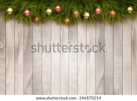 Christmas decoration on old wooden background. Vector - stock vector