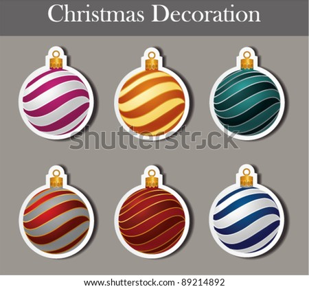 Christmas decoration on stickers. Vector - stock vector