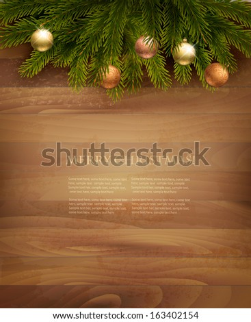 Christmas decoration on wooden background. Vector. - stock vector